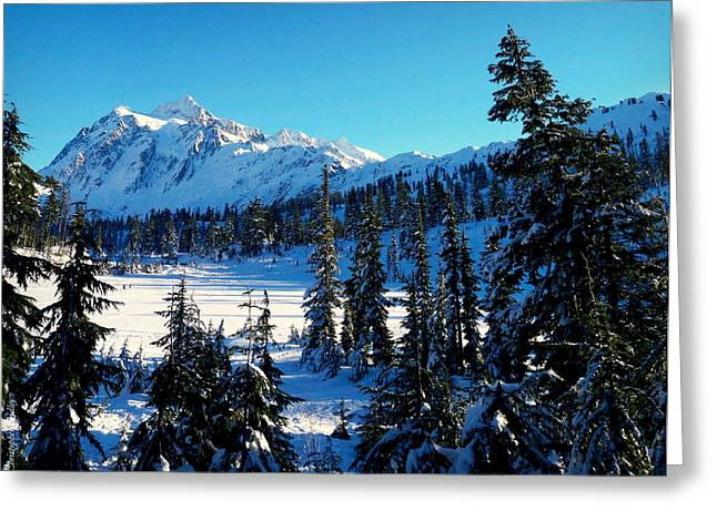 Christopher Fridley Greeting Cards - Mt Shuksan Winter Greeting Card by Christopher Fridley