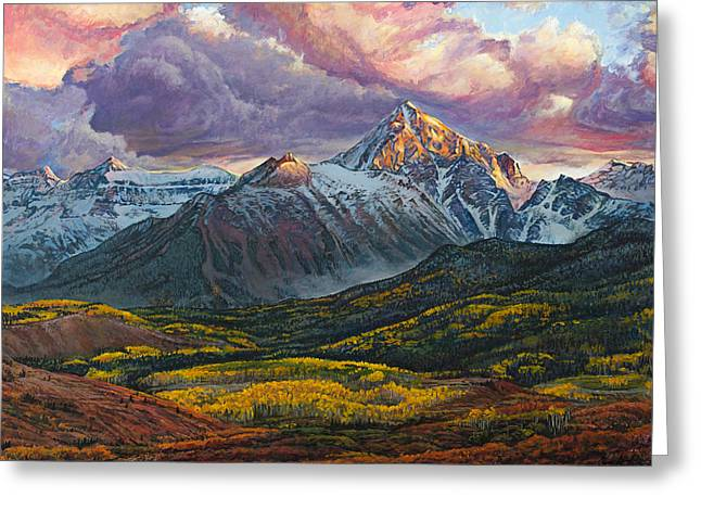 Aspen Grove Greeting Cards - Mt. Sneffels Greeting Card by Aaron Spong