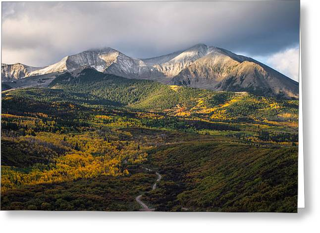 Photos Of Autumn Greeting Cards - Mt. Sopris Greeting Card by Aaron Spong