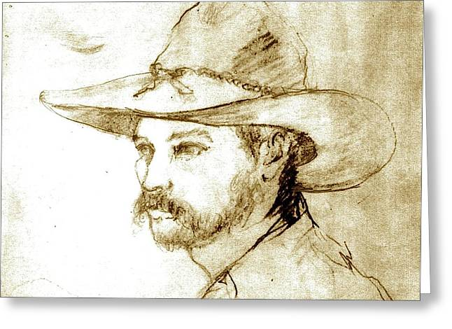 Mt Drawings Greeting Cards - Mt. Vernon Cowboy Greeting Card by Vincent von Frese