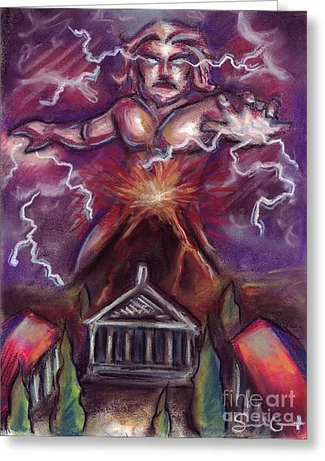 Greek Pastels Greeting Cards - Mt. Vesuvius - Jupiters Fury Greeting Card by Samantha Geernaert