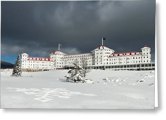 New England Snow Scene Greeting Cards - Mt. Washington Hotel Greeting Card by Joseph Smith