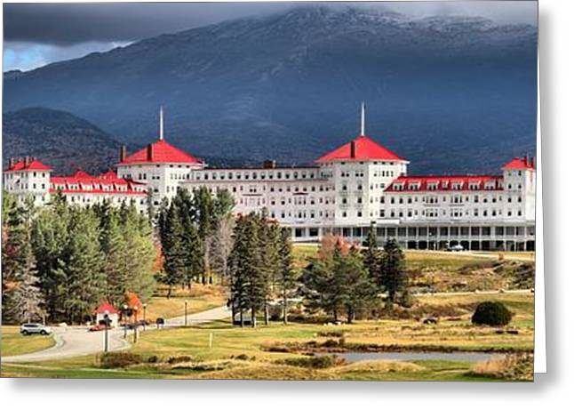 Famous Hotel Greeting Cards - Mt Washington Onmi Resort Panorama Greeting Card by Adam Jewell