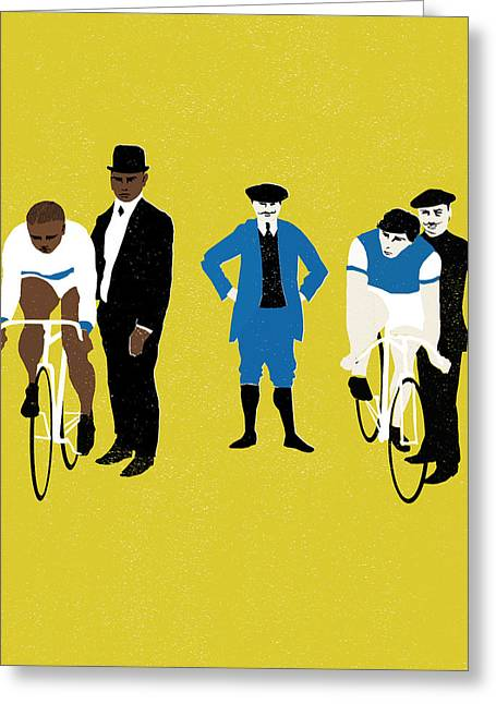 Bike Race Greeting Cards - MT Yellow Greeting Card by Eliza Southwood