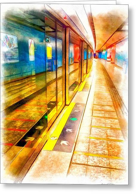 Hong Kong Digital Art Greeting Cards - MTR Admiralty Station in Hong Kong Greeting Card by Yury Malkov