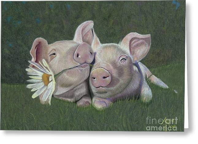 Pig Drawings Greeting Cards - Mu and Shu Greeting Card by Angie Deaver