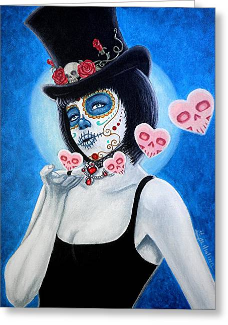 Spanish Holiday Greeting Cards - MUAH Bella Muerte Thanks You Greeting Card by Al  Molina