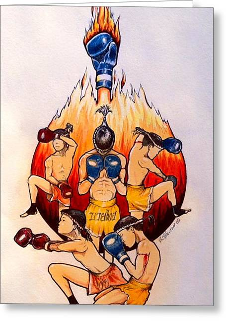 Muay Thai Greeting Cards - Muay Thai Greeting Card by Bill Shelton