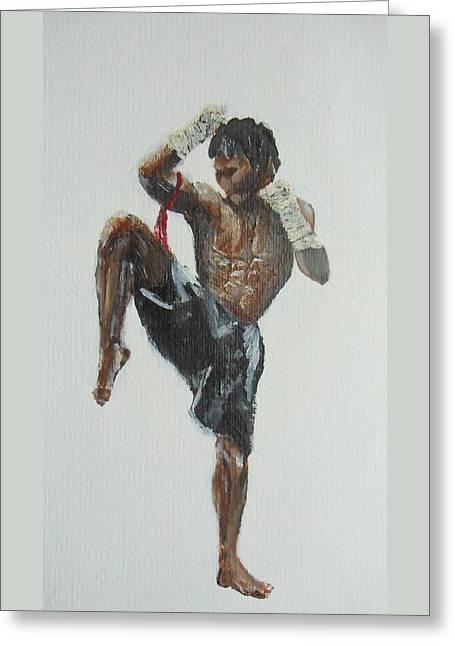 Muay Thai Fighter Greeting Card by Rafal Kilimnik
