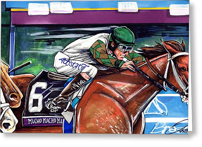 Bred Drawings Greeting Cards - Mucho Macho Man Greeting Card by Dave Olsen