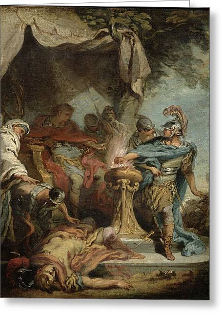 Fearlessness Greeting Cards - Mucius Scaevola Before Porsenna Oil On Canvas Greeting Card by Francois Boucher