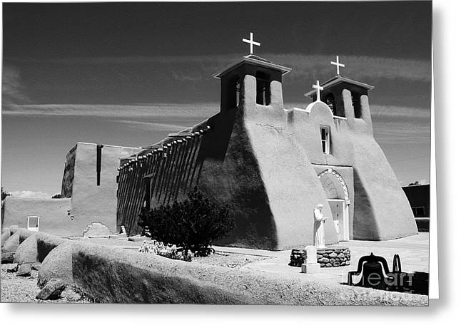 Taos Greeting Cards - Mud And Straw BW Greeting Card by Mel Steinhauer