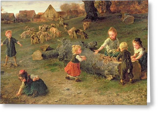 Little Boy Greeting Cards - Mud Pies Greeting Card by Ludwig Knaus