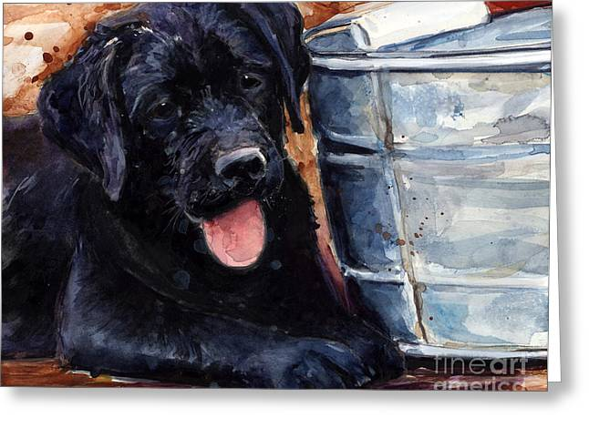 Black Lab Puppy Greeting Cards - Mud Pies Greeting Card by Molly Poole