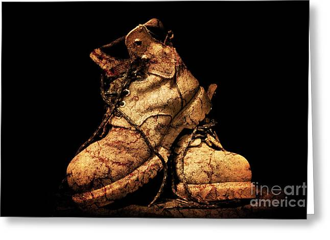 Work Boots Greeting Cards - Muddy Truckers Boots Greeting Card by Phill Petrovic
