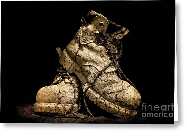 Work Boots Greeting Cards - Muddy Workers Boots Greeting Card by Phill Petrovic
