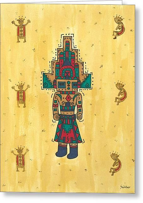Kokopeli Greeting Cards - Mudhead Kachina Doll Greeting Card by Susie Weber