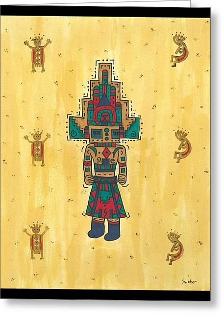 Susie Weber Greeting Cards - Mudhead Kachina Doll Greeting Card by Susie Weber