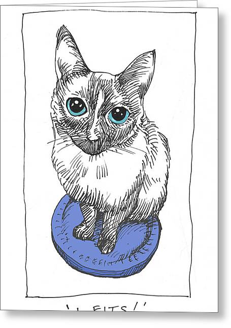 Kitty Drawings Greeting Cards - Mudhoney in color Greeting Card by Steve Hunter