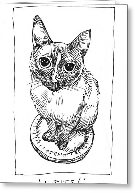 Cat Drawings Greeting Cards - Mudhoney Sits Greeting Card by Steve Hunter