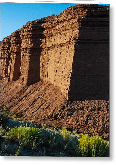 Green Mudstone Greeting Cards - Mudstone Cliffs of the Summerville Formation San Rafael Swell Utah Greeting Card by Robert Ford