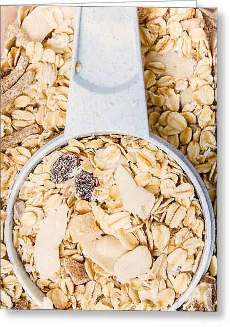 Oatmeal Greeting Cards - Muesli scoop serving cup Greeting Card by Ryan Jorgensen