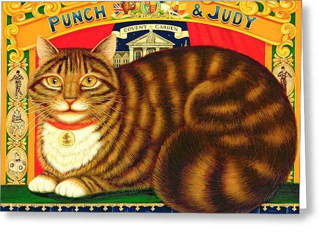 Punch Greeting Cards - Muffin, The Covent Garden Cat, 1996 Oil & Tempera On Panel Greeting Card by Frances Broomfield