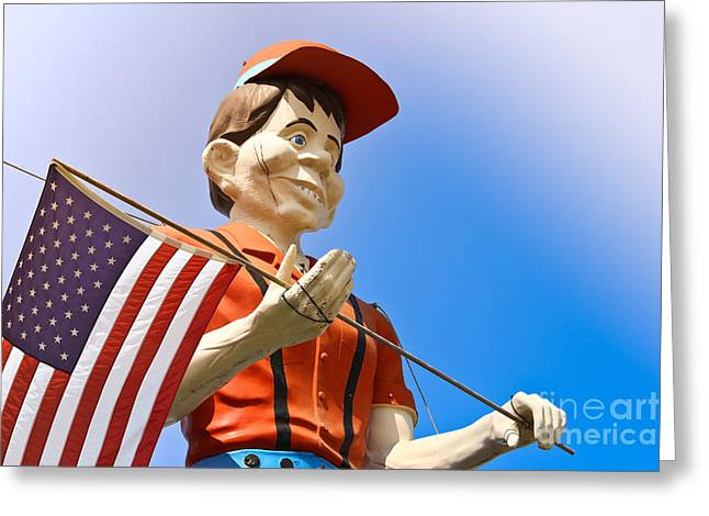 Casino Pier Greeting Cards - Muffler Man - Casino Pier Greeting Card by Colleen Kammerer
