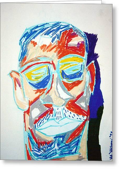 Sunglasses Pastels Greeting Cards - Mug Shot Greeting Card by Mike Manzi