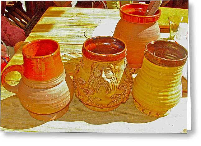 Tallinn Digital Greeting Cards - Mugs for Herb-Cinnamon and Honey Beer in Old Town Tallinn-Estonia Greeting Card by Ruth Hager
