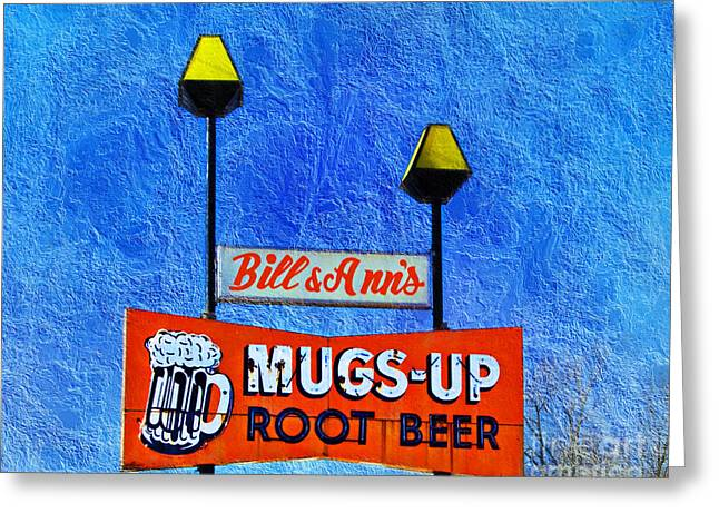 Mugs Up Root Beer Drive In Sign Greeting Card by Andee Design