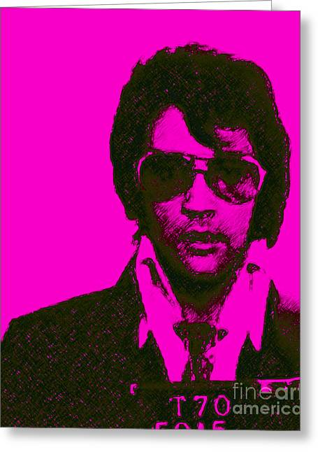 Crooked Greeting Cards - Mugshot Elvis Presley m80 Greeting Card by Wingsdomain Art and Photography