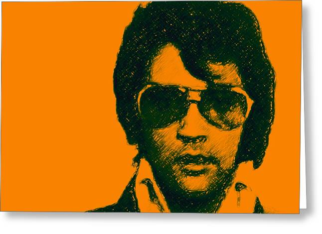 Las Vegas Artist Greeting Cards - Mugshot Elvis Presley square Greeting Card by Wingsdomain Art and Photography