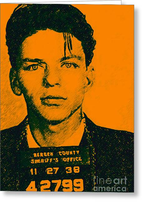 Las Vegas Artist Greeting Cards - Mugshot Frank Sinatra v1 Greeting Card by Wingsdomain Art and Photography