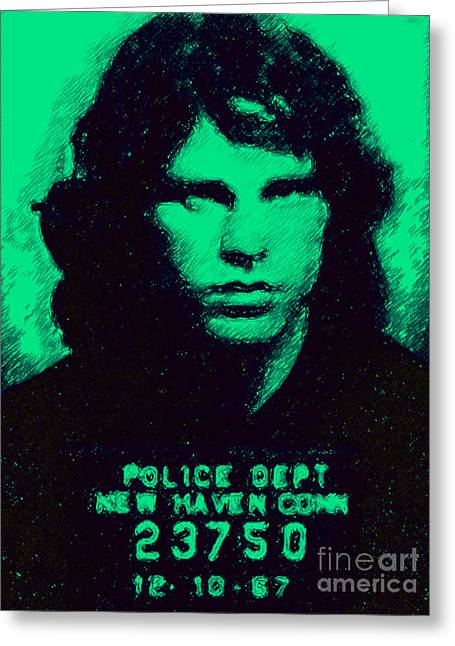 Alcatraz Greeting Cards - Mugshot Jim Morrison p128 Greeting Card by Wingsdomain Art and Photography
