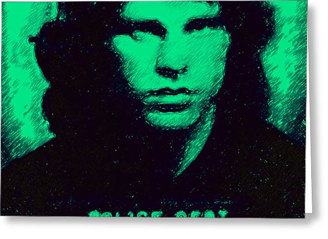 Mugshot Jim Morrison p128 Greeting Card by Wingsdomain Art and Photography