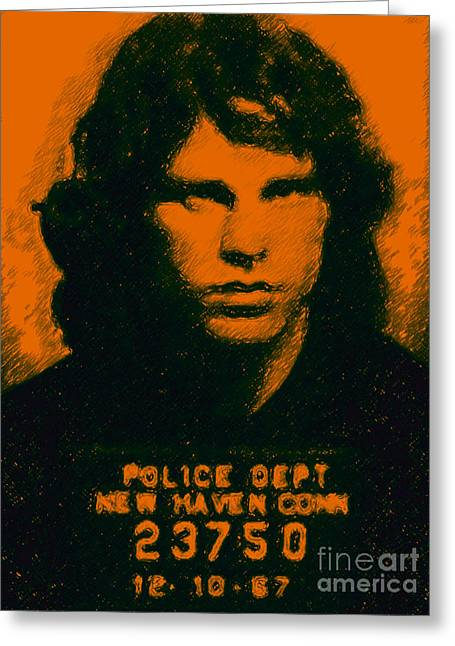 Alcatraz Greeting Cards - Mugshot Jim Morrison Greeting Card by Wingsdomain Art and Photography