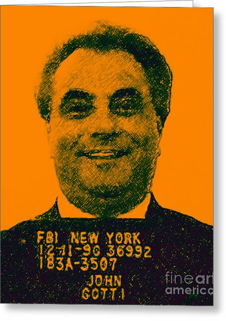 Mass Murder Greeting Cards - Mugshot John Gotti p0 Greeting Card by Wingsdomain Art and Photography