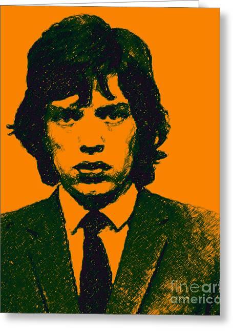 Mick Jagger Portrait Greeting Cards - Mugshot Mick Jagger p0 Greeting Card by Wingsdomain Art and Photography