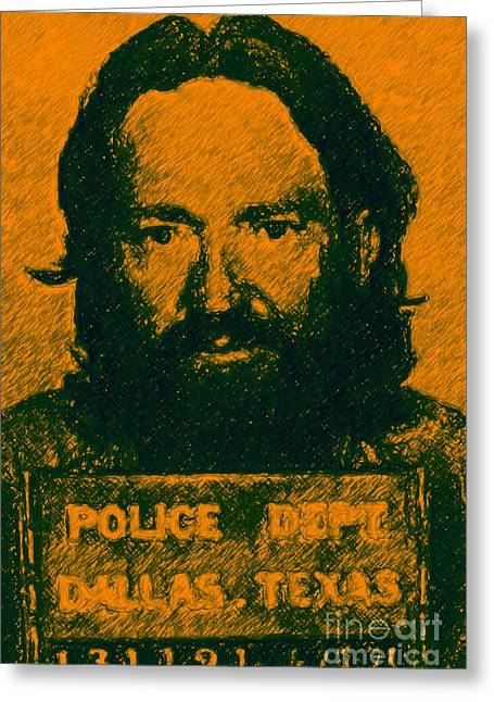 Wingsdomain Greeting Cards - Mugshot Willie Nelson p0 Greeting Card by Wingsdomain Art and Photography