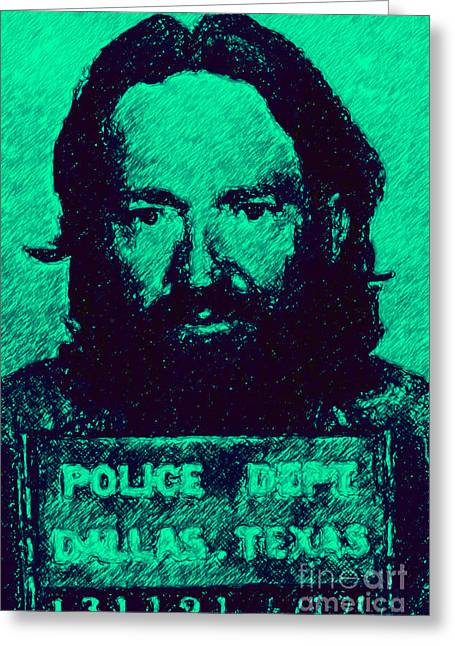 Teen Greeting Cards - Mugshot Willie Nelson p28 Greeting Card by Wingsdomain Art and Photography