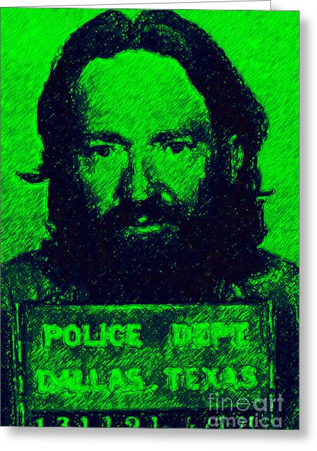 Alcatraz Greeting Cards - Mugshot Willie Nelson p88 Greeting Card by Wingsdomain Art and Photography