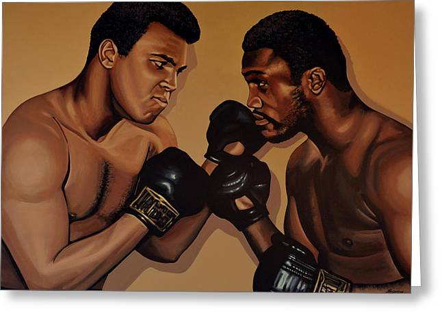 Boxer Greeting Cards - Muhammad Ali and Joe Frazier Greeting Card by Paul Meijering