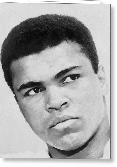 Champs Greeting Cards - Muhammad Ali Greeting Card by Dan Sproul