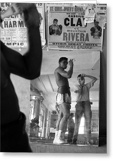 Mirror Reflection Greeting Cards - Muhammad Ali Drinking  Greeting Card by Retro Images Archive