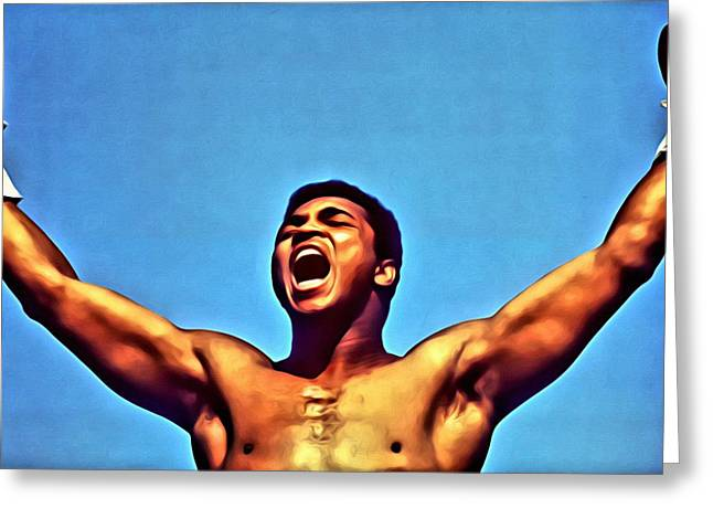 Shout Greeting Cards - Muhammad Ali Greeting Card by Florian Rodarte