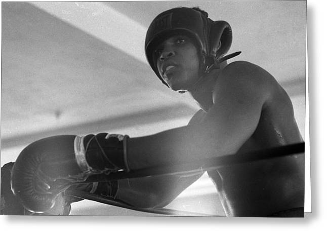 Work Out Greeting Cards - Muhammad Ali Gloves Resting On Ropes Greeting Card by Retro Images Archive
