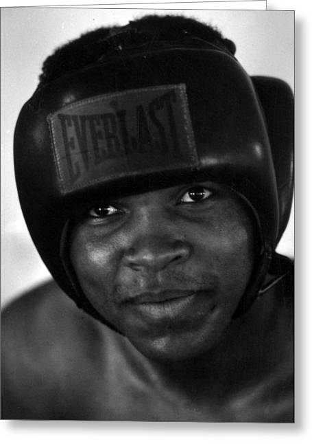 Intensity Greeting Cards - Muhammad Ali Grinning Greeting Card by Retro Images Archive