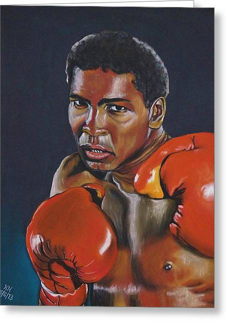 I Pastels Greeting Cards - Muhammad Ali Greeting Card by Kevin Hubbard