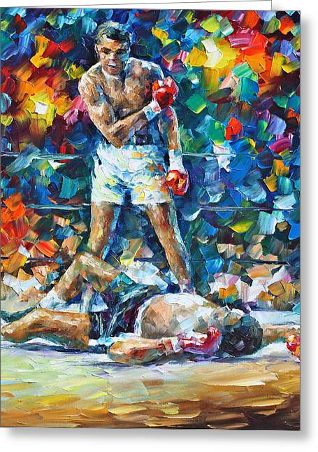 Boxed Greeting Cards - Muhammad Ali Greeting Card by Leonid Afremov